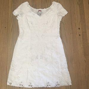 Yoana Baraschi white linen embroidered lace dress